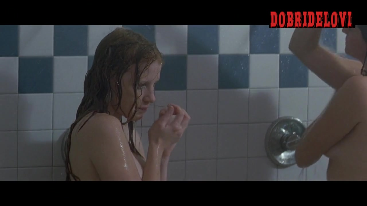 Jessica Chastain showers in group scene from Jolene