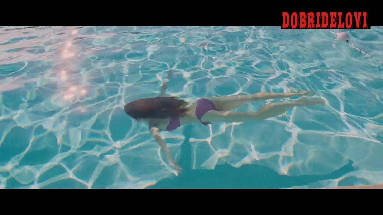 Olga Kurylenko sexy swimming purple bikini scene from To The Wonder