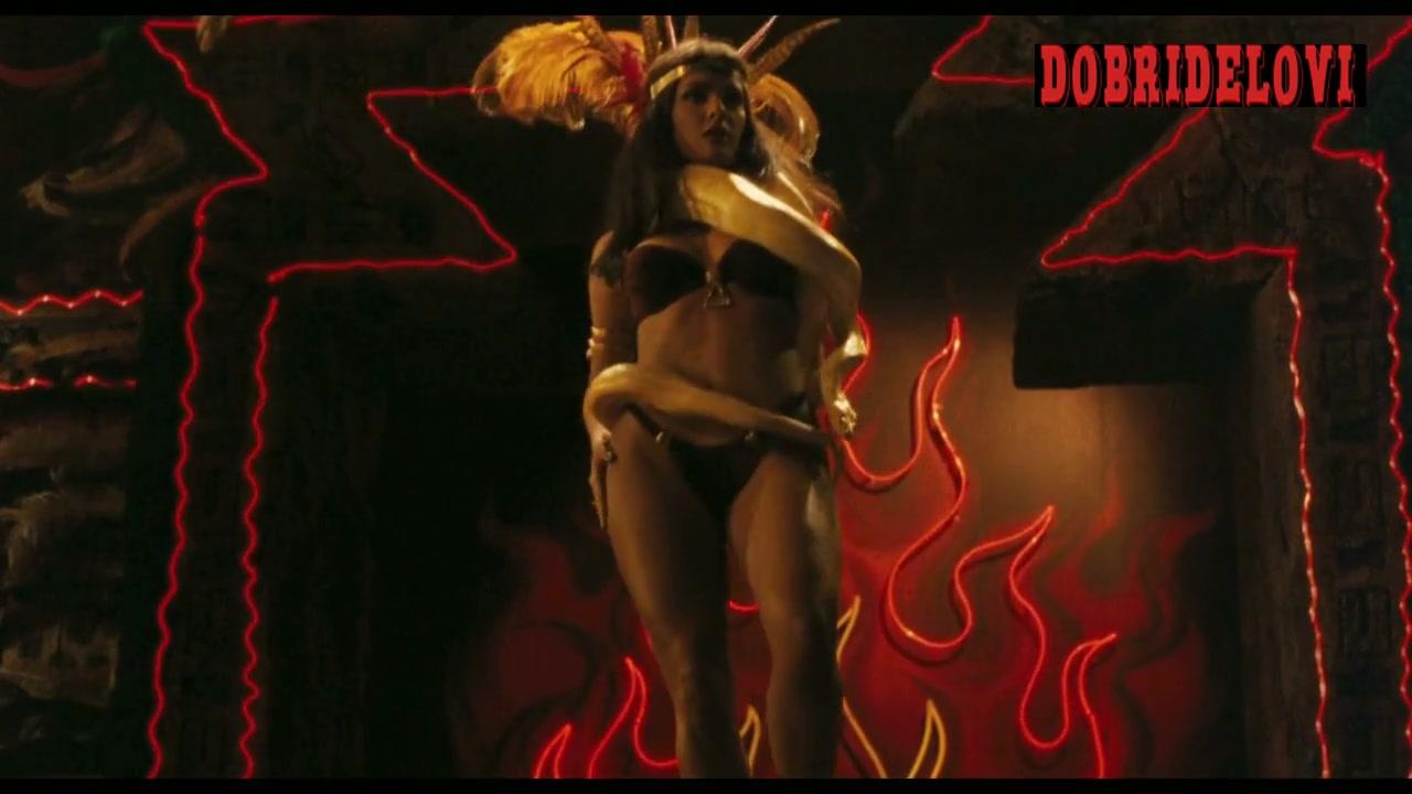 Salma Hayek black bra and panties dancing on stage with snake