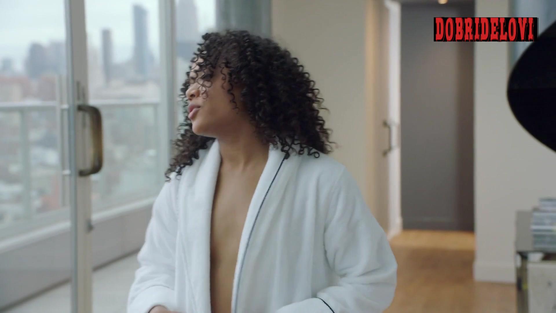 Candace Maxwell open robe scene in Power