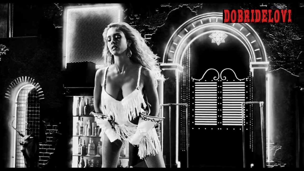 Jessica Alba white lingerie dancing on stage for Sin City a Dame to Kill For
