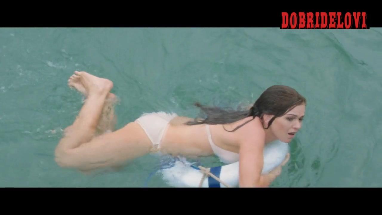 Isla Fisher sexy white bikini jumping on water in Life of Crime