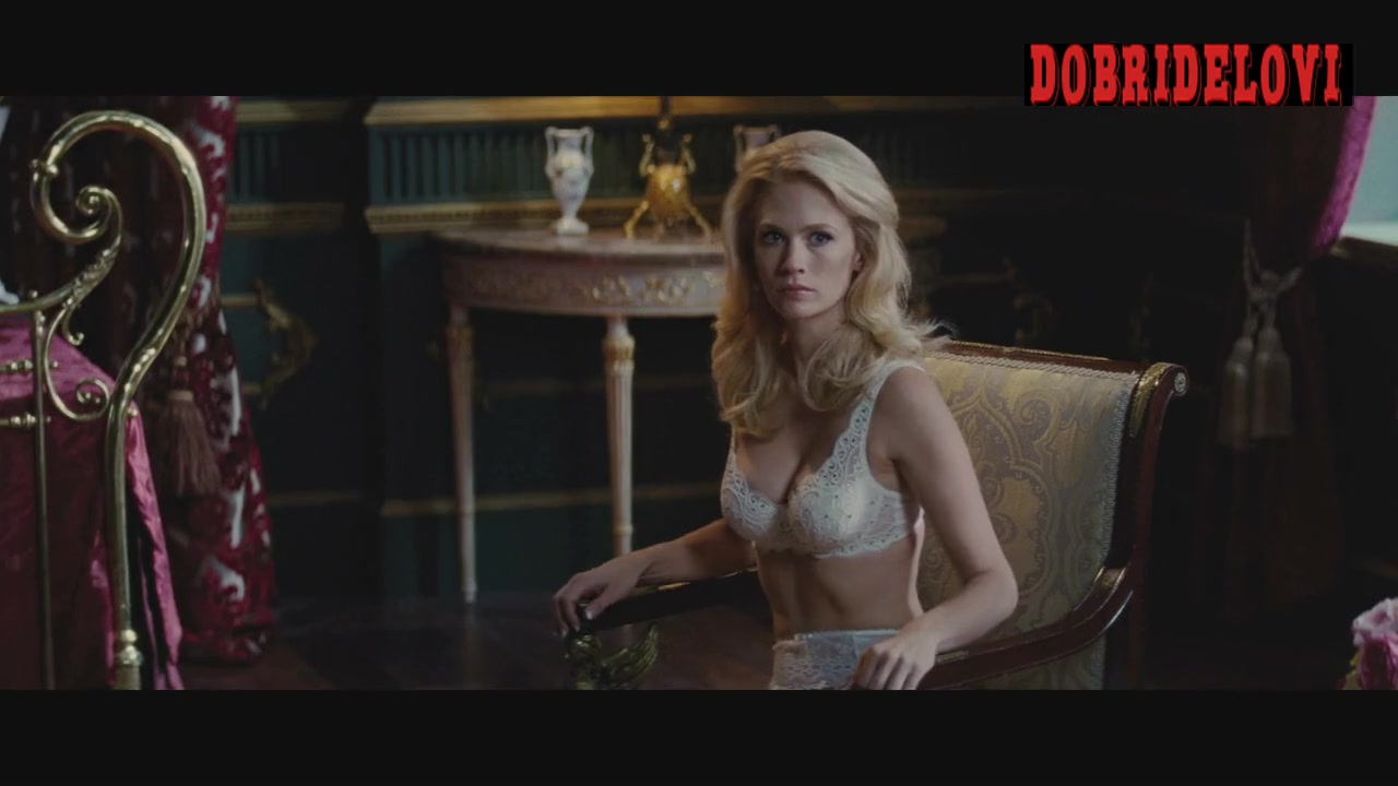 January Jones sexy white underwear scene from X-Men First Class