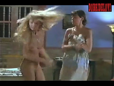 Arielle Dombasle and Marianne Denicourt undressing and slapping each other