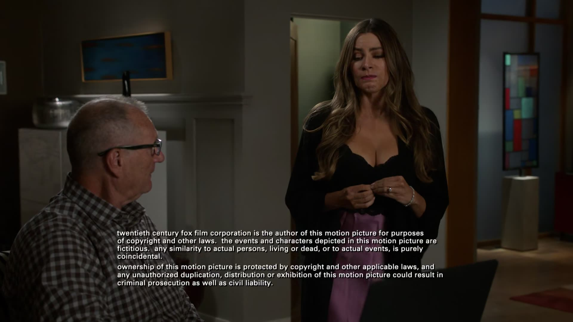 Sofia Vergara cleavage in nightgown scene from Modern Family