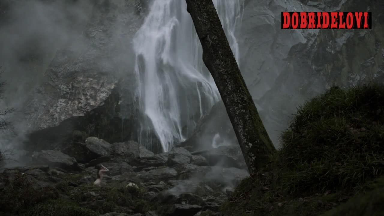 Alyssa Sutherland nude in the waterfall scene from Vikings
