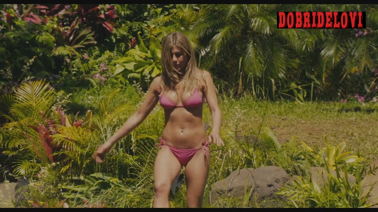 Brooklyn Decker and Jennifer Aniston sexy bikini in the irver scene from Just Go With It video image