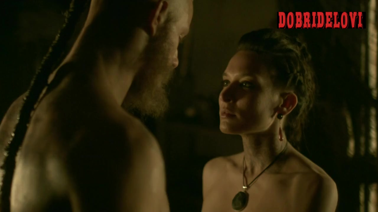 Josefin Asplund clothes ripped by Alexander Ludwig in Vikings