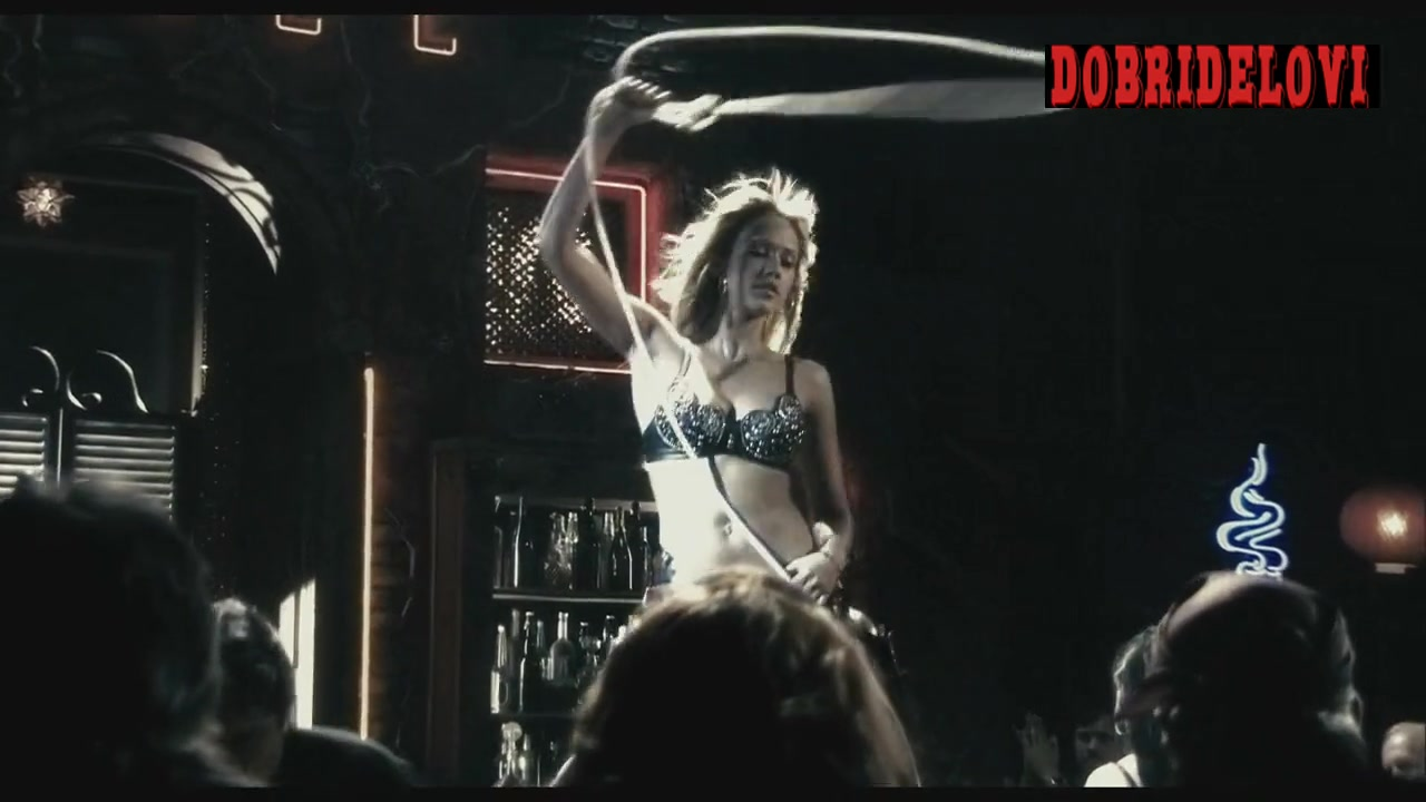 Jessica Alba dances on stage cowboy style in Sin City