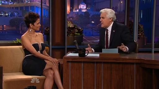 Jay Leno can't stop starring at Halle Berry's cleavage