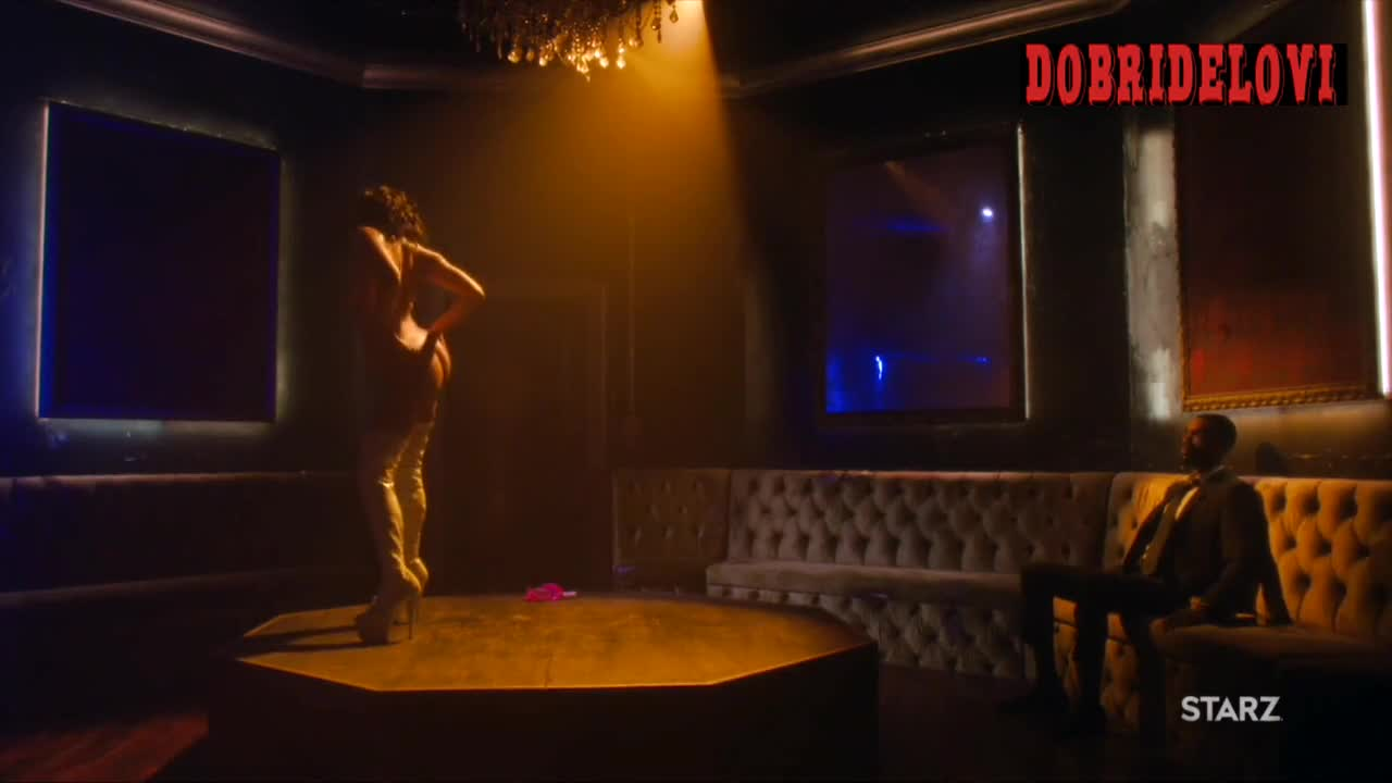Elarica Johnson private room nude lap dance scene from P-Valley