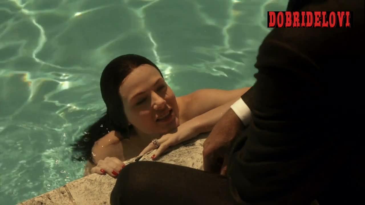 Jessica Marais swimming nude scene from Magic City