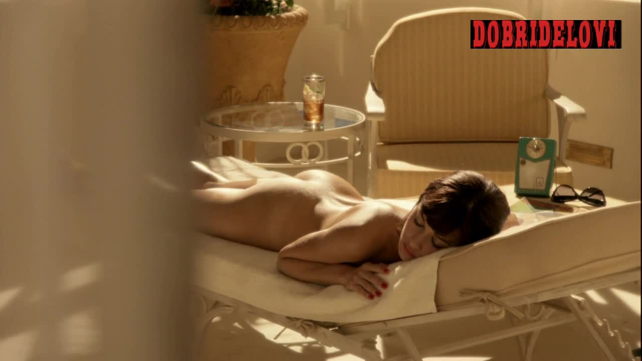Olga Kurylenko sunbathing naked scene from Magic City