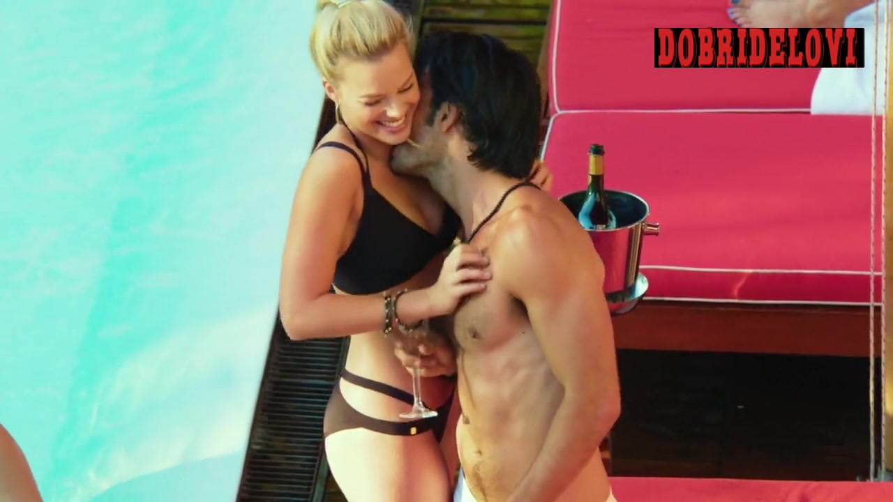 Margot Robbie sexy bikini poolside scene from Focus