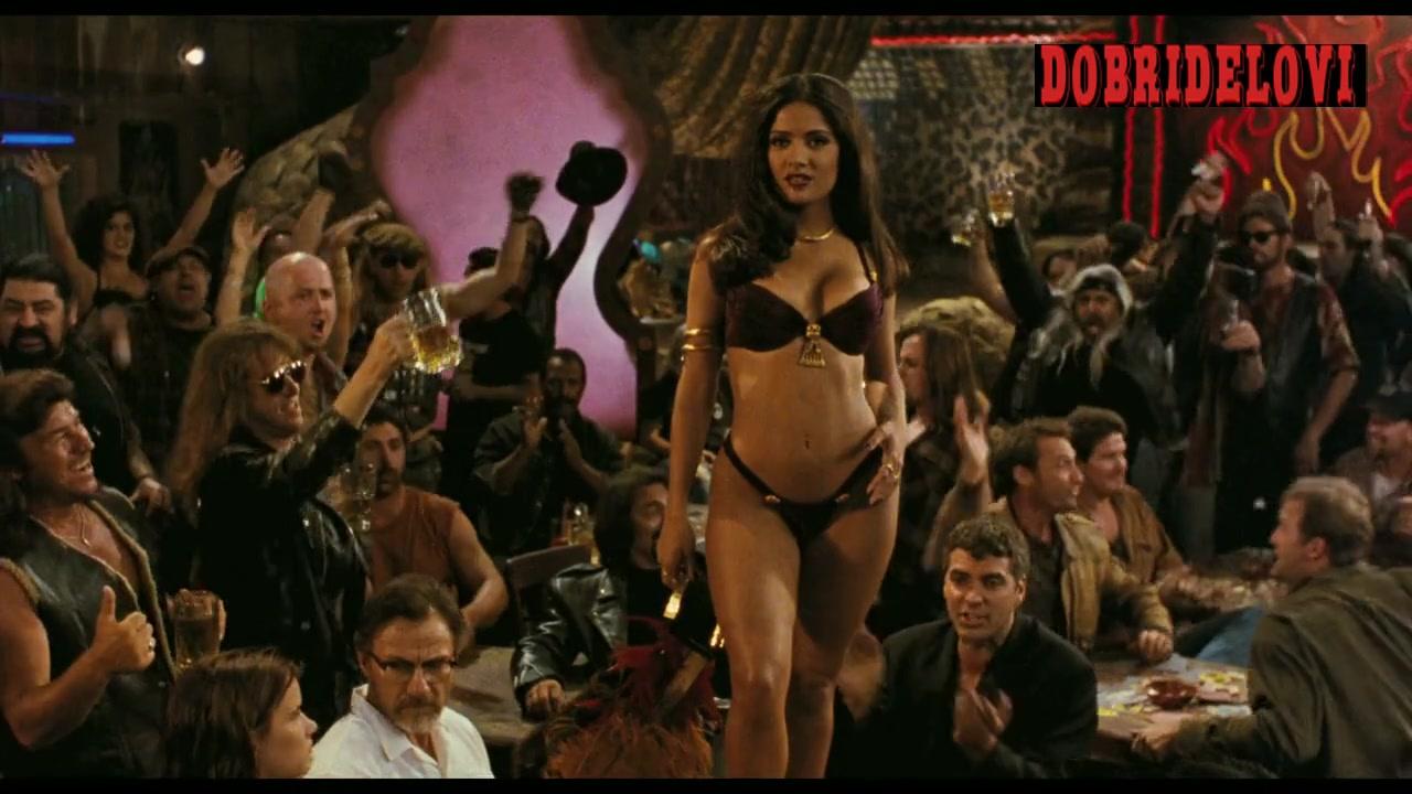 Salma Hayek black bikini dancing on stage for From Dusk Till Dawn