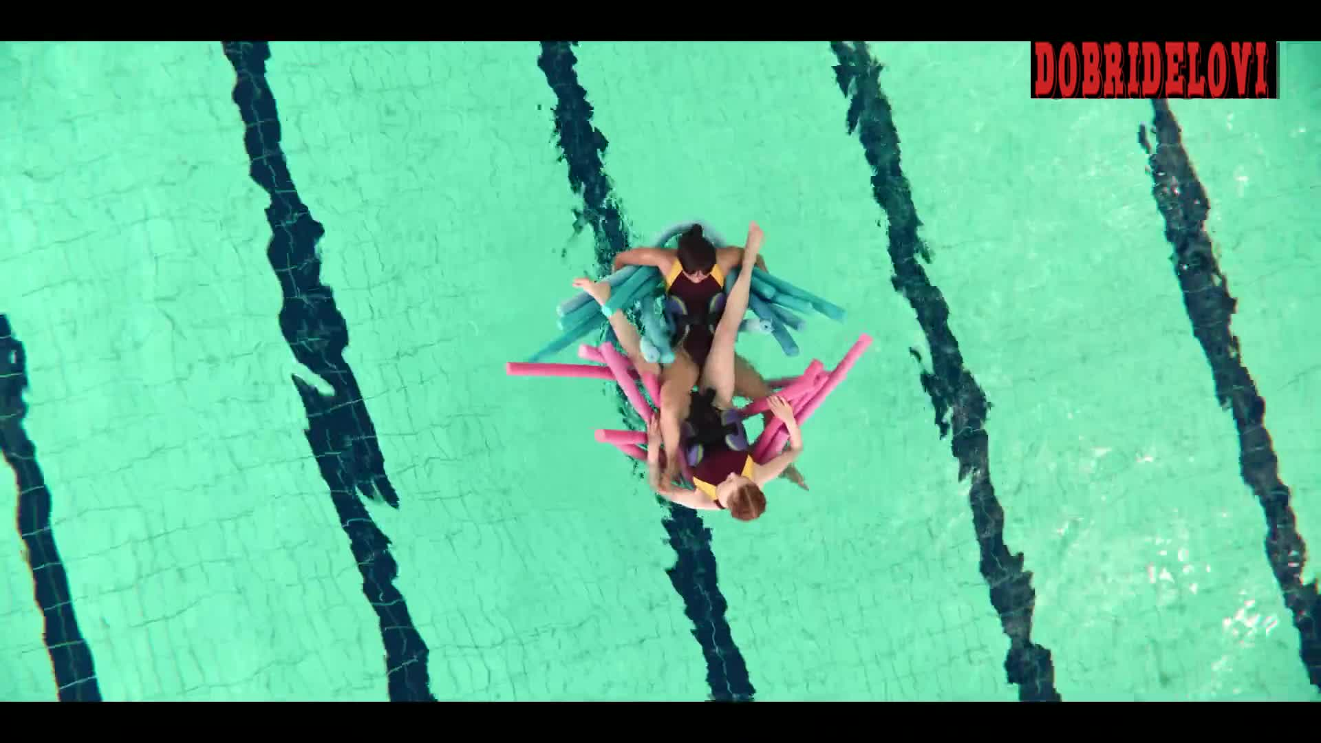 Lily Newmark lesbian scissoring scene in the pool