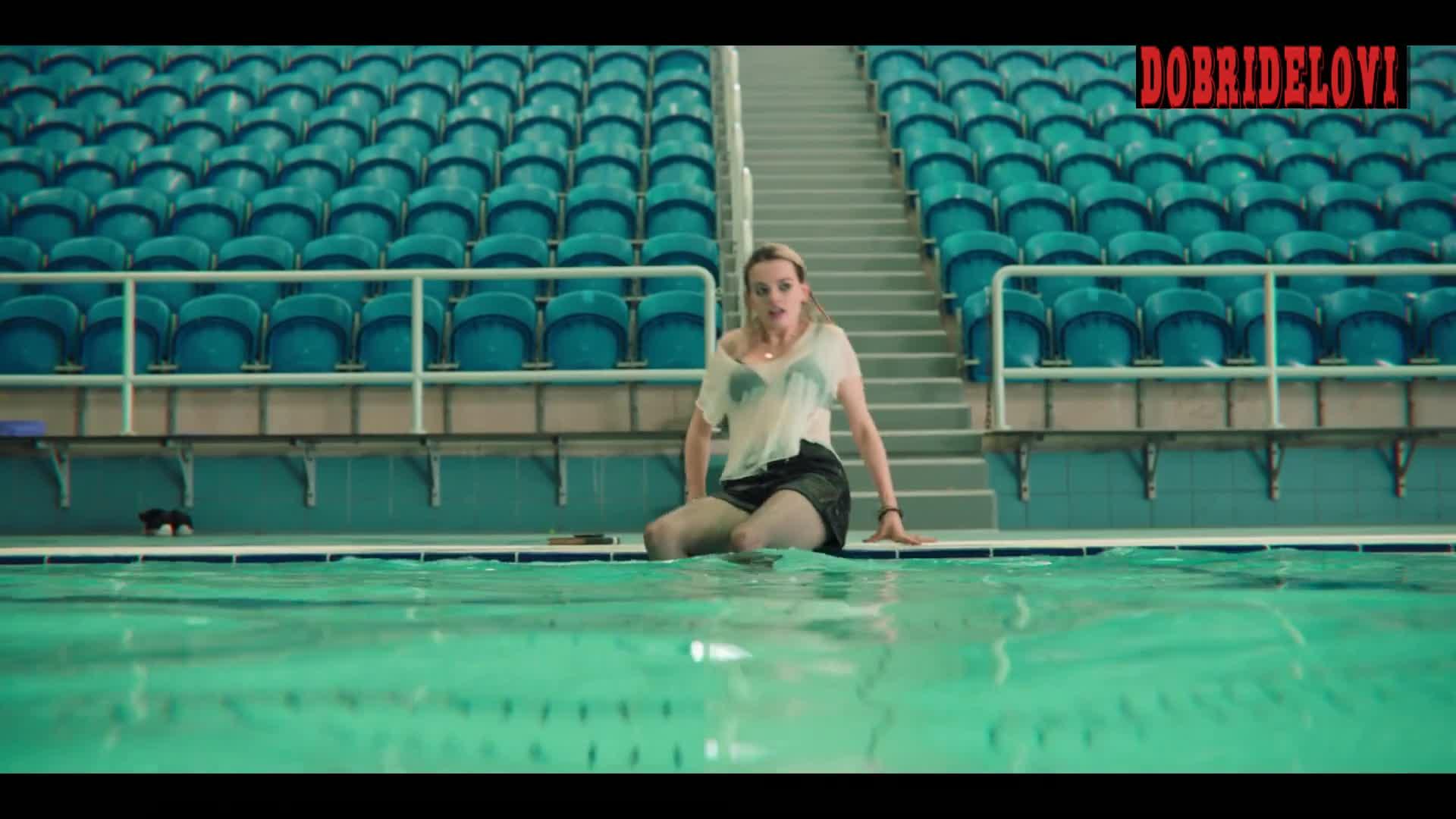 Emma Mackey sexy in wet shirt swimming