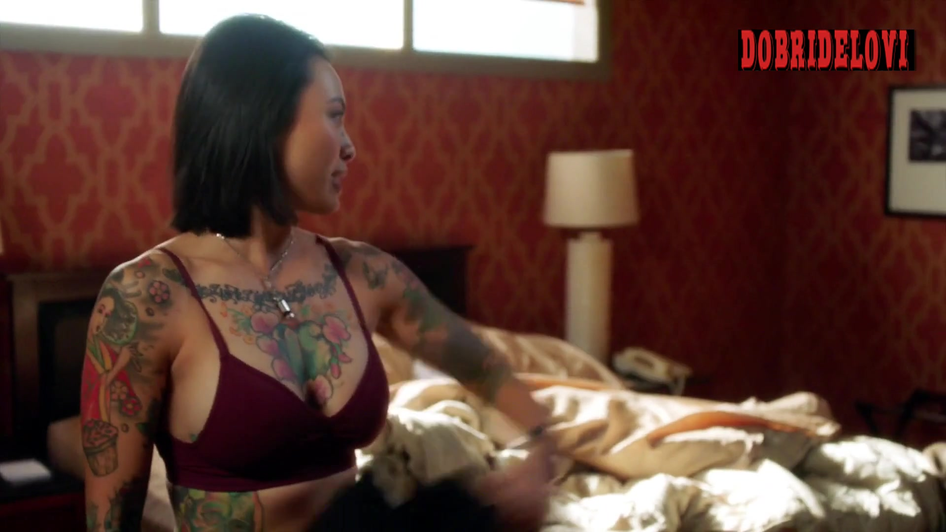 Levy Tran in bed with Lucas Till for MacGyver