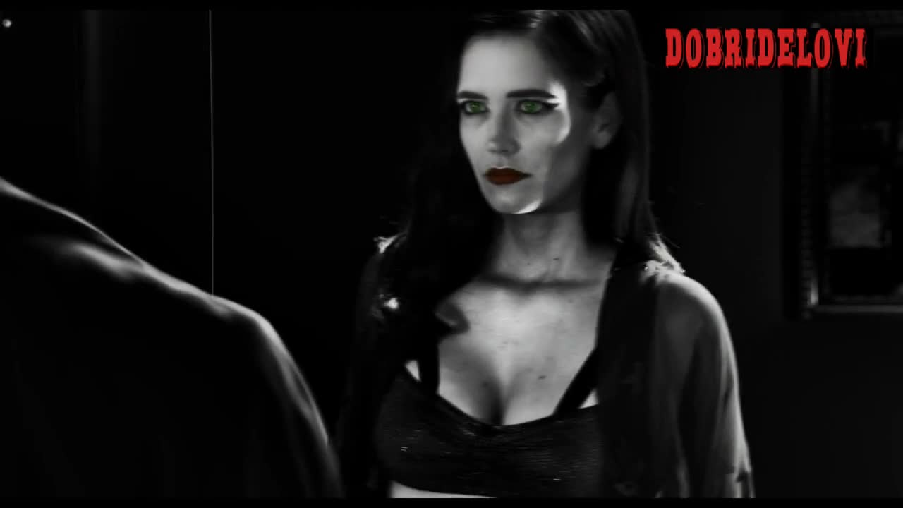 Eva Green black bra cleavage scene from Sin City A Dame to Kill For