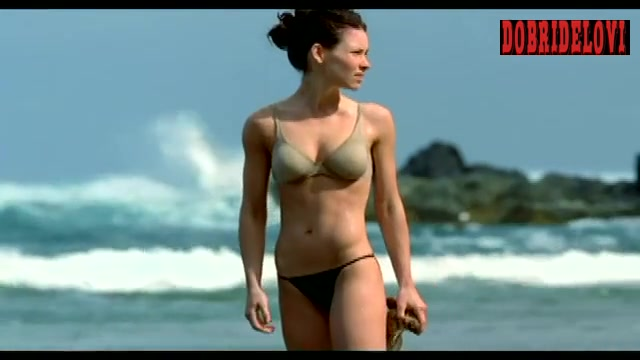 Evangeline Lilly grand shot rinsing off in the ocean for Lost