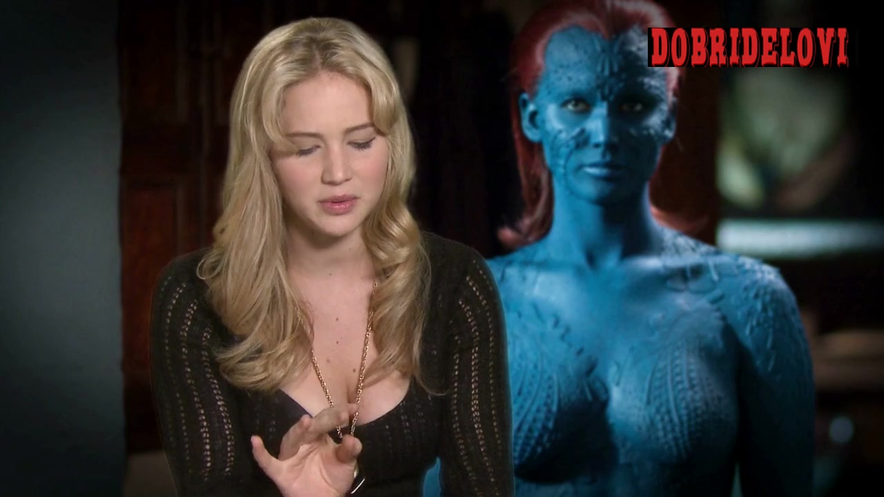 Jennifer Lawrence behind the scenes as Mystique for X-Men First Class