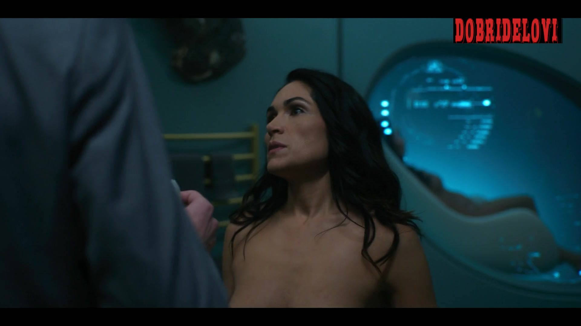 Lela Loren nude putting on robe for Altered Carbon