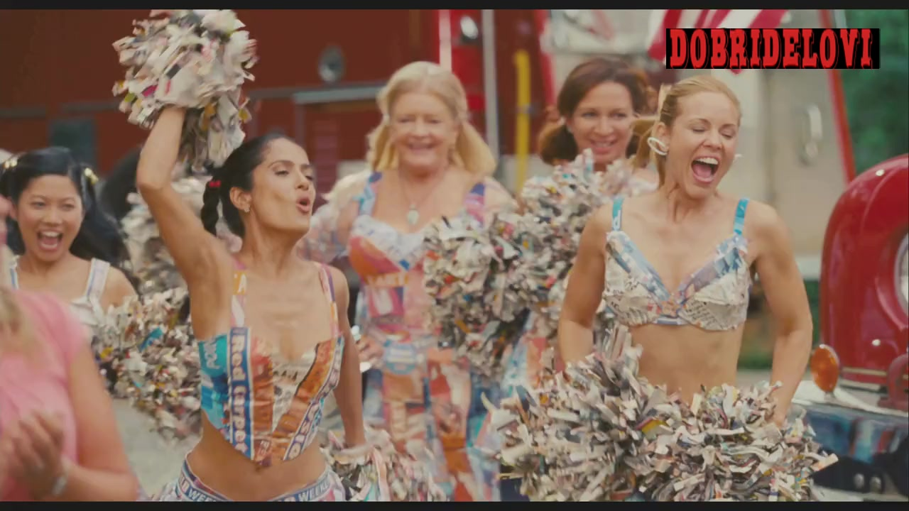 Salma Hayek, Madison Riley, Jamie Chung, Maria Bello cheerleading scene from Grown Ups