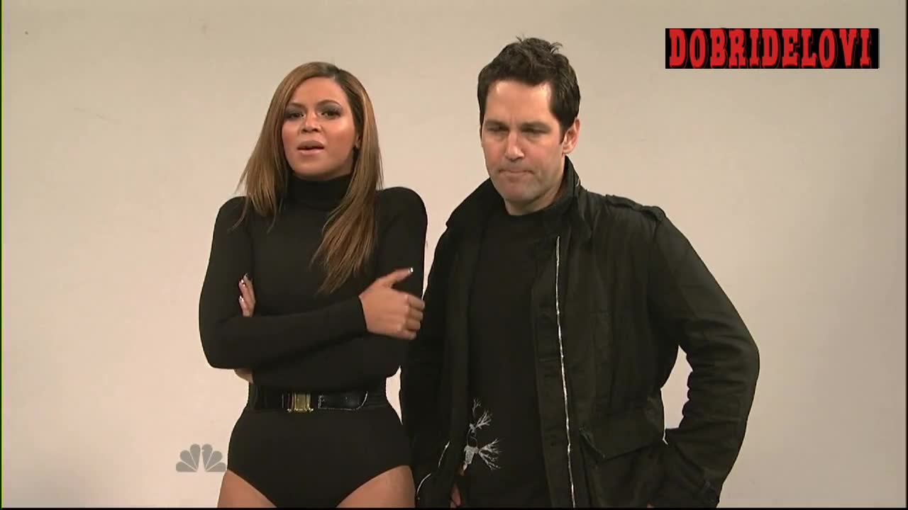 Beyonce Knowles and Paul Rudd dacing in film set -- Saturday Night Live