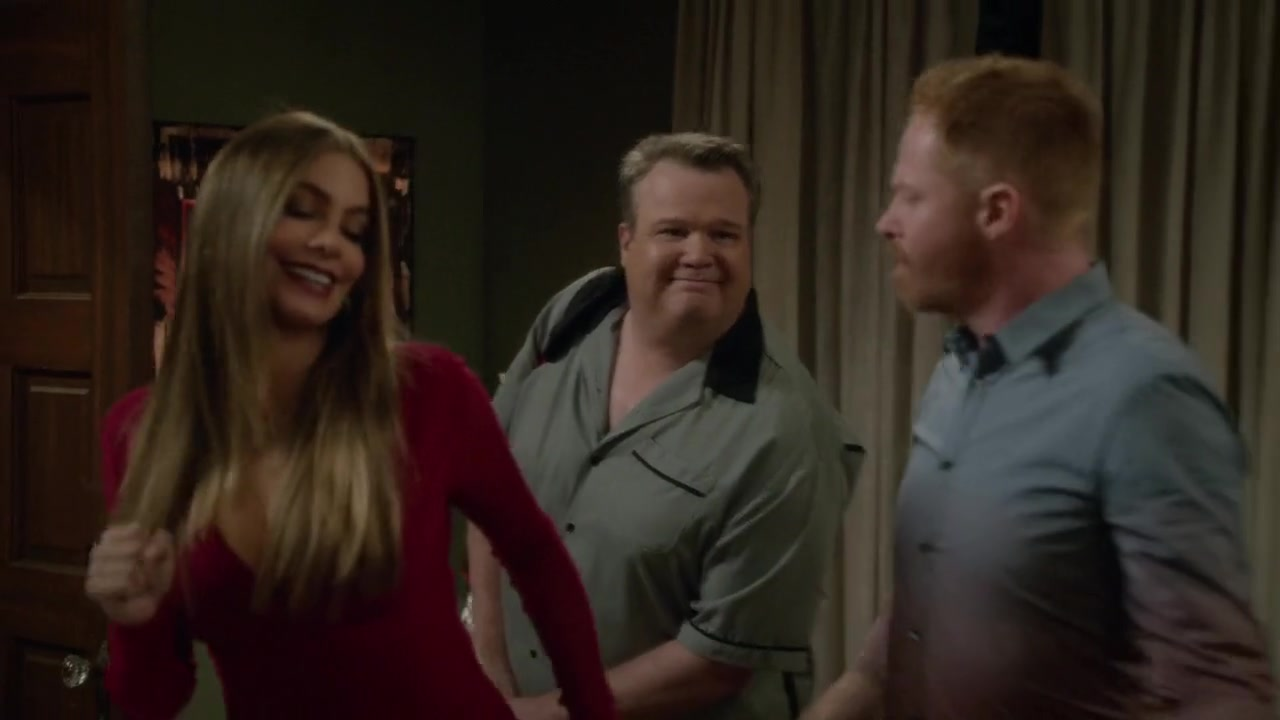 Sofia Vergara sexy dance in red dress scene from Modern Family