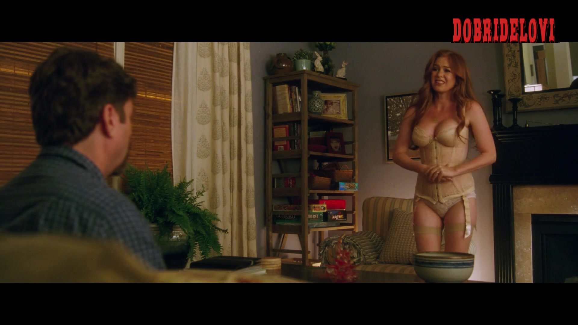 Isla Fisher beige lingerie and huge cleavage in Keeping Up With The Joneses video image