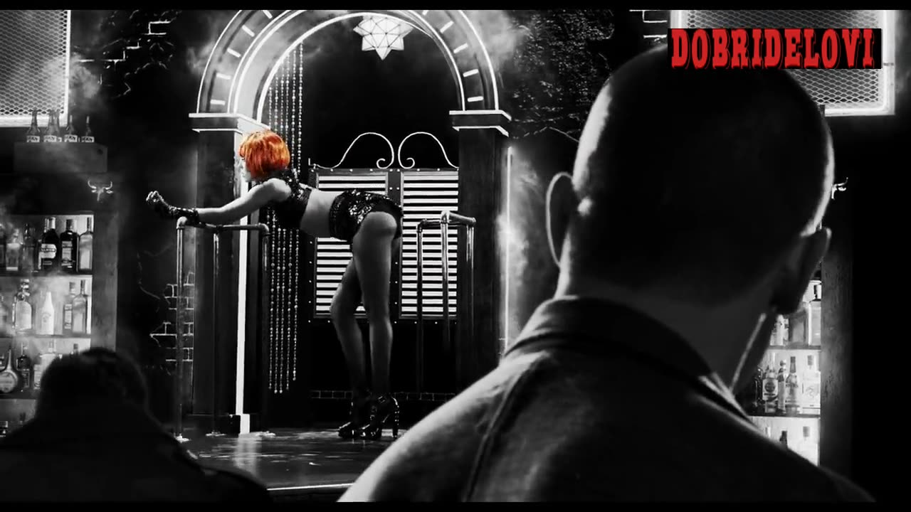 Jessica Alba redhead dancing on stage for Sin City a Dame to Kill For