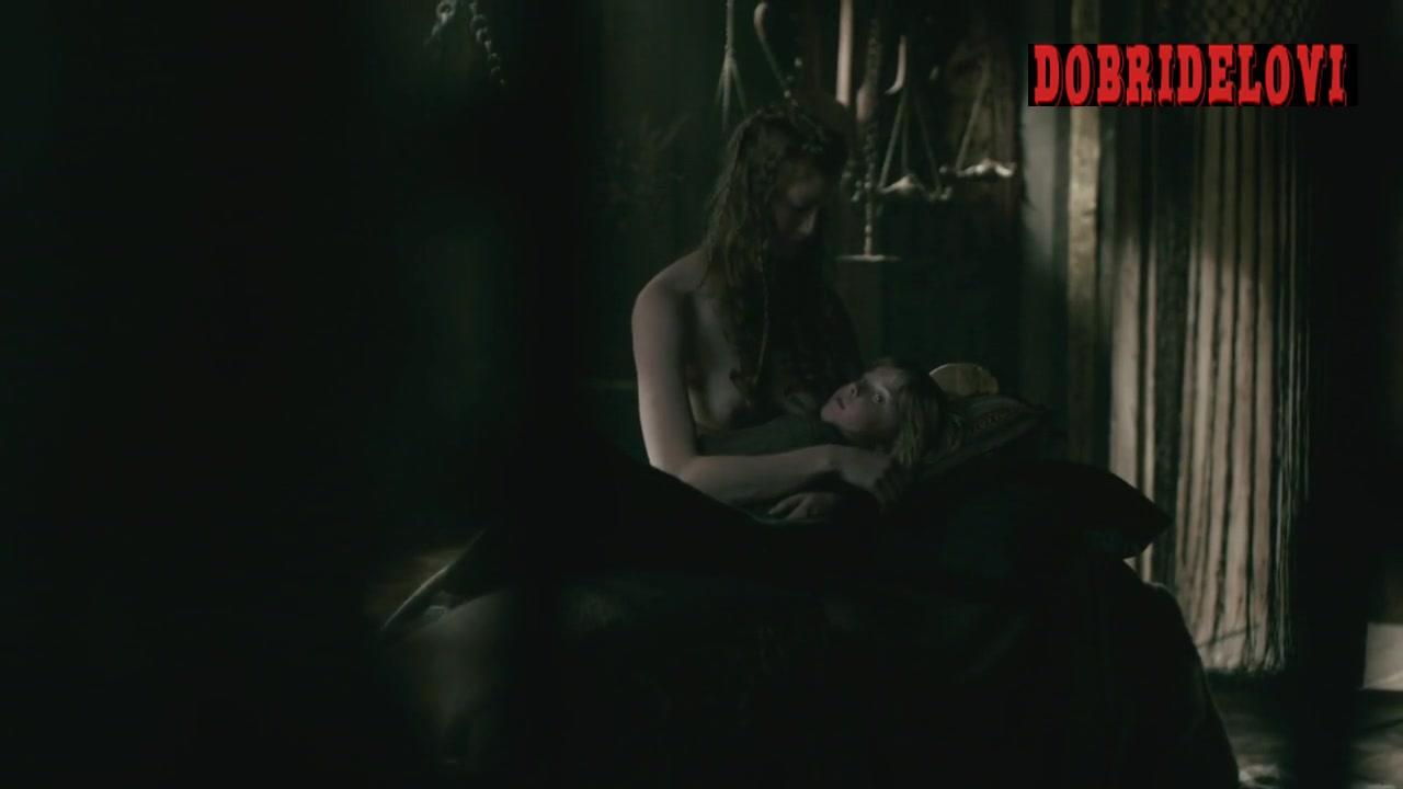 Alyssa Sutherland breastfeeding scene from Vikings