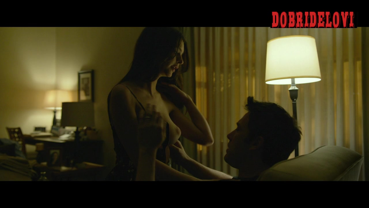 Emily Ratajkowski getting her breasts kissed by Ben Affleck in Gone Girl