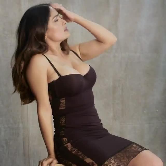 Salma Hayek sexy black dress photo shoot