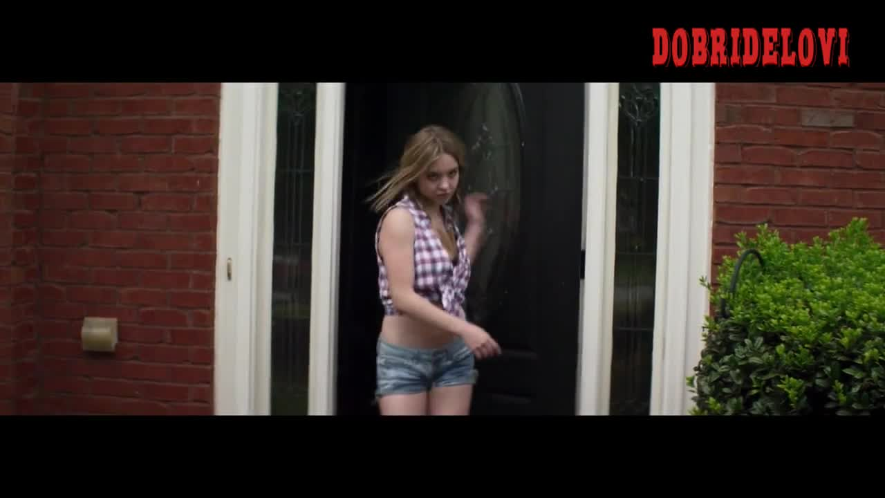 Sydney Sweeney sexy cleavage open blouse in Along Came the Devil