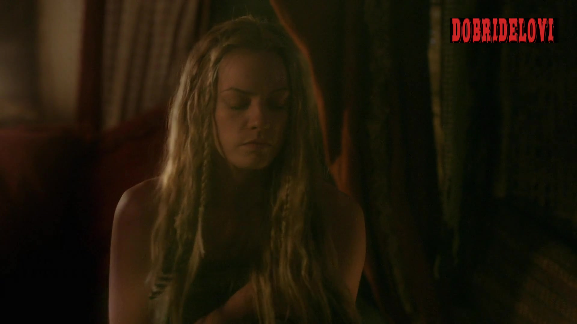 Lucy Martin side boob scene from Vikings