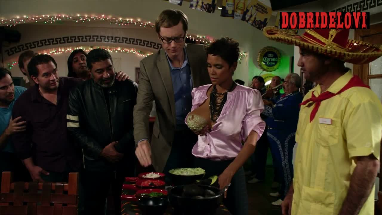 Halle Berry dips breast into guacamole