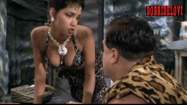 Halle Berry animal print bikini scene from The Flintstones
