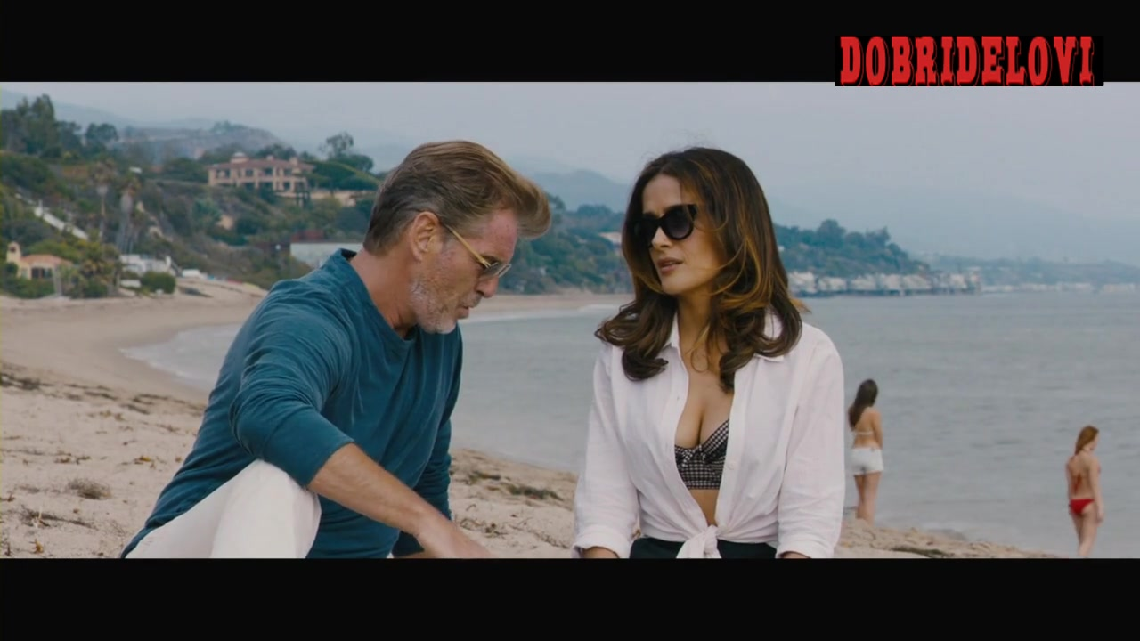 Salma Hayek sexy cleavage in the beach for Some Kind of Beautiful