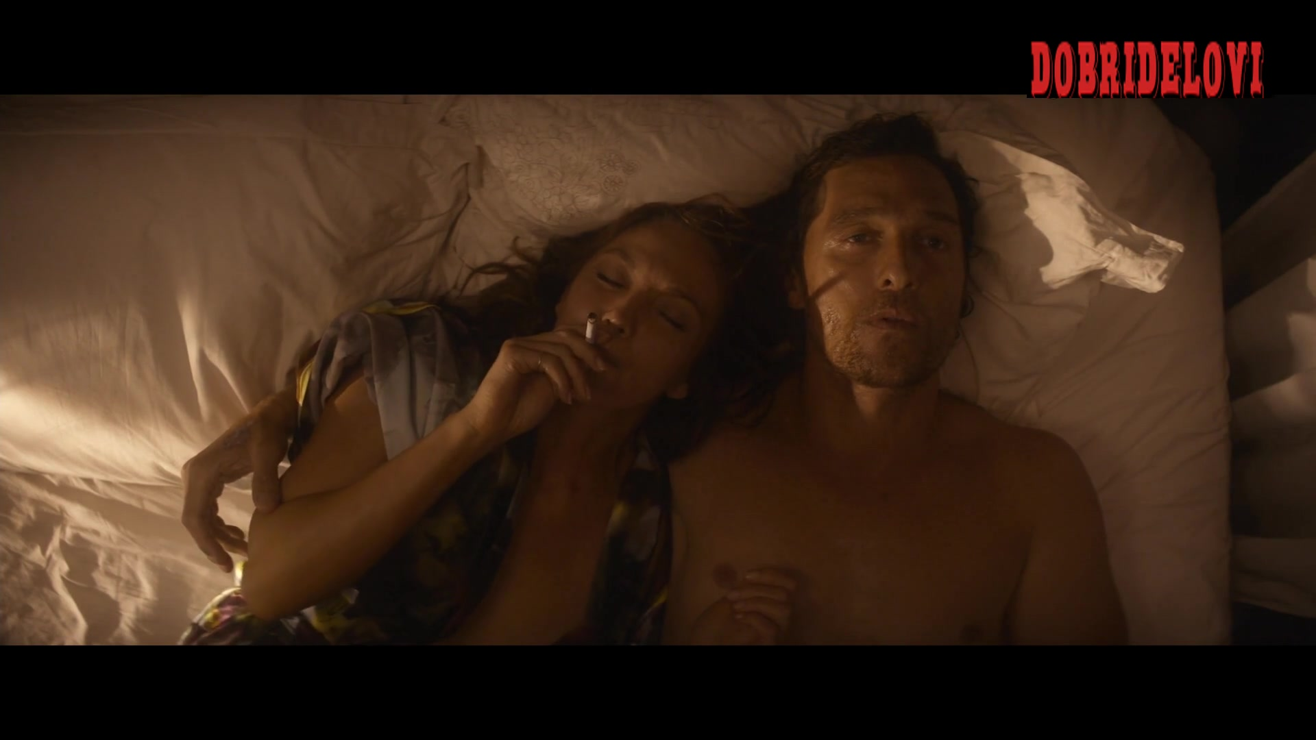 Diane Lane open shirt in bed scene from Serenity