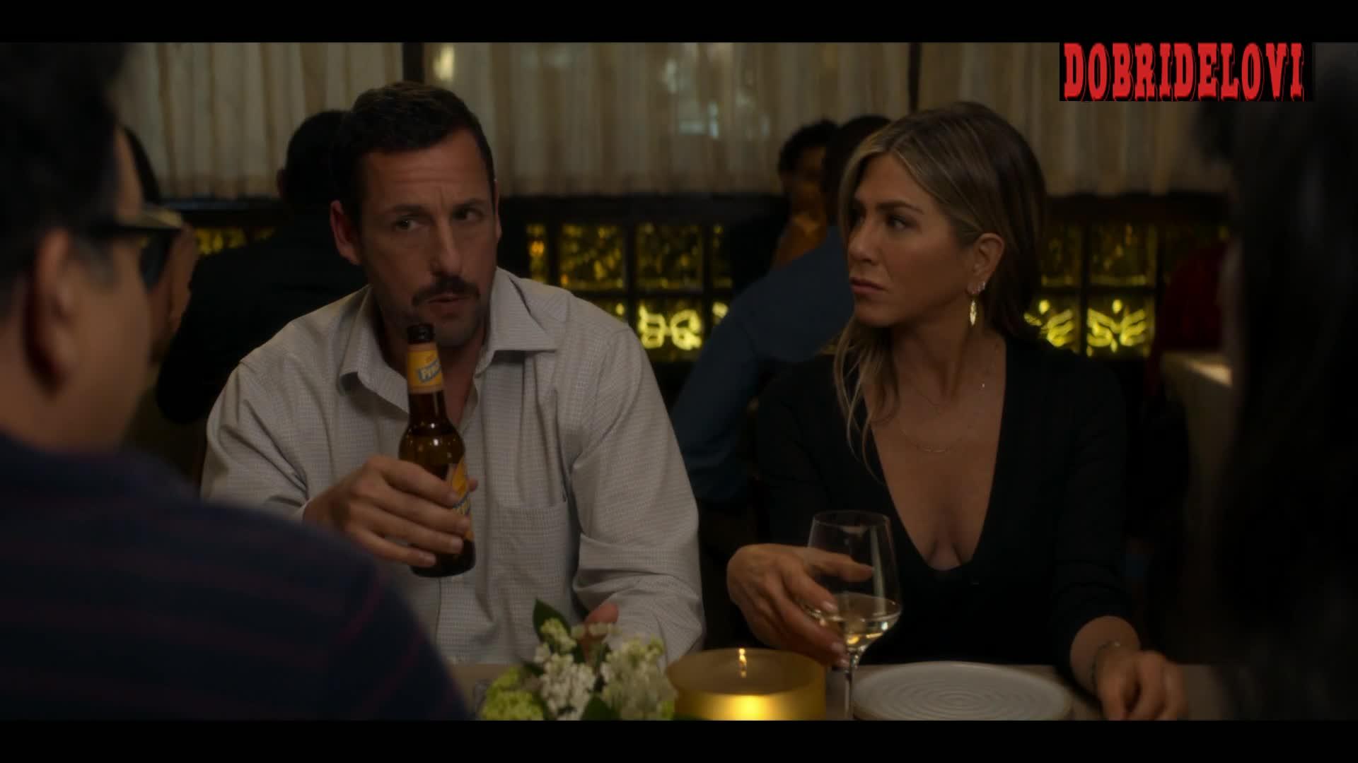 Jennifer Aniston cleavage at restaurant scene from Murder Mystery