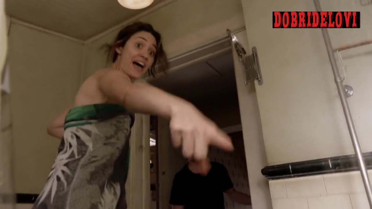Emmy Rossum drops the towel to get into the tub scene from Shameless