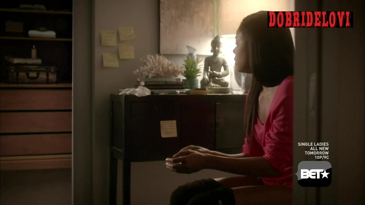 Raven Goodwin, and Gabrielle Union sitting on toilet scene from Being Mary Jane