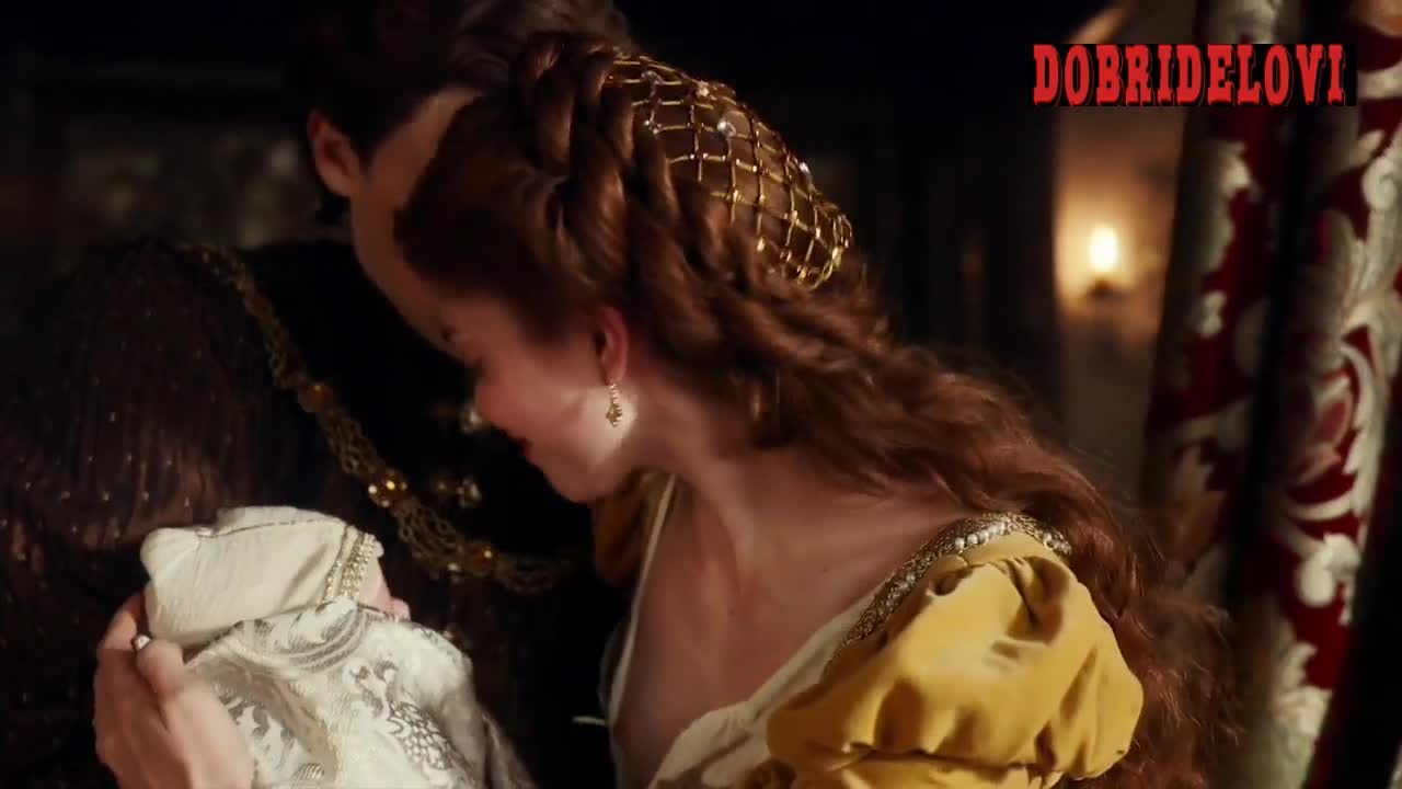 Charlotte Hope breasts scene from The Spanish Princess