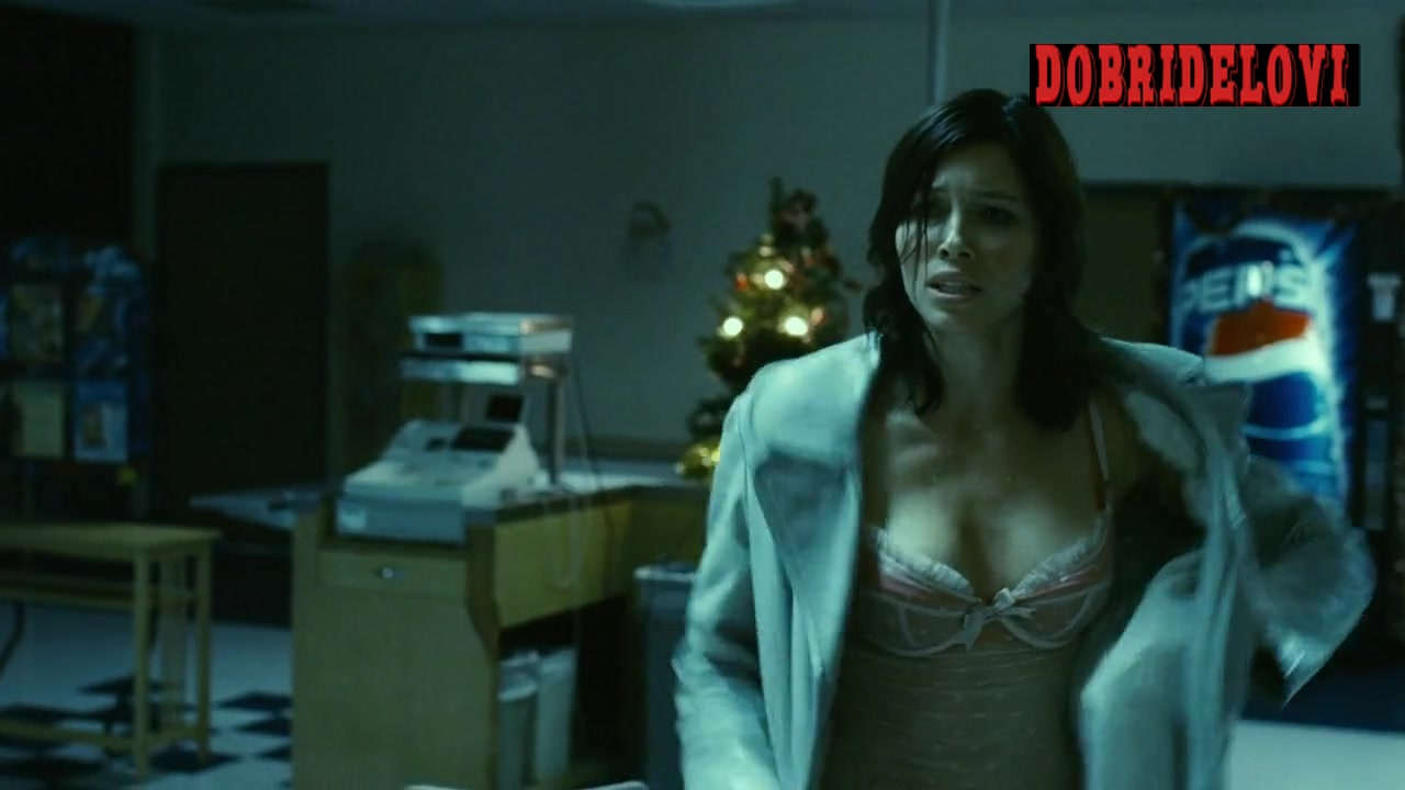 Jessica Biel removing coat and showing lingerie scene from Powder Blue