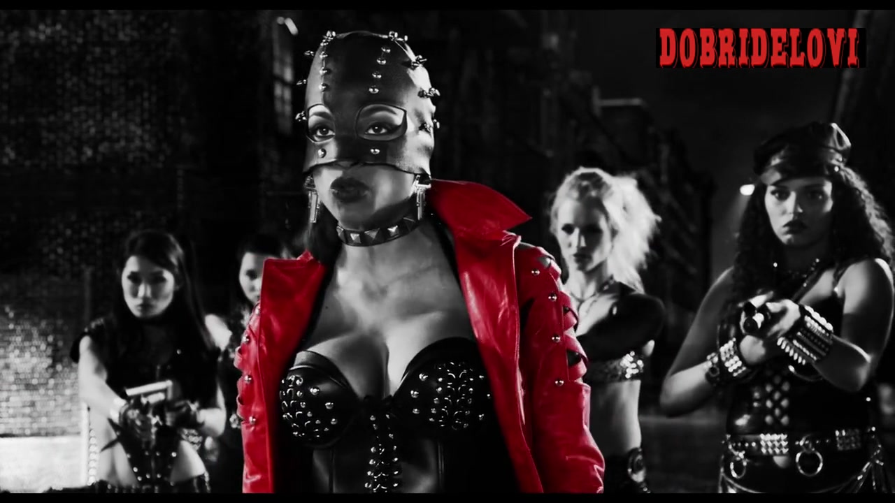 Rosario Dawson red jacket cleavage scene from Sin City a Dame to Kill For