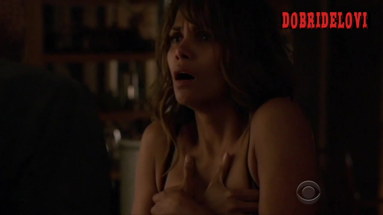 Halle Berry cleavage scene from Extant