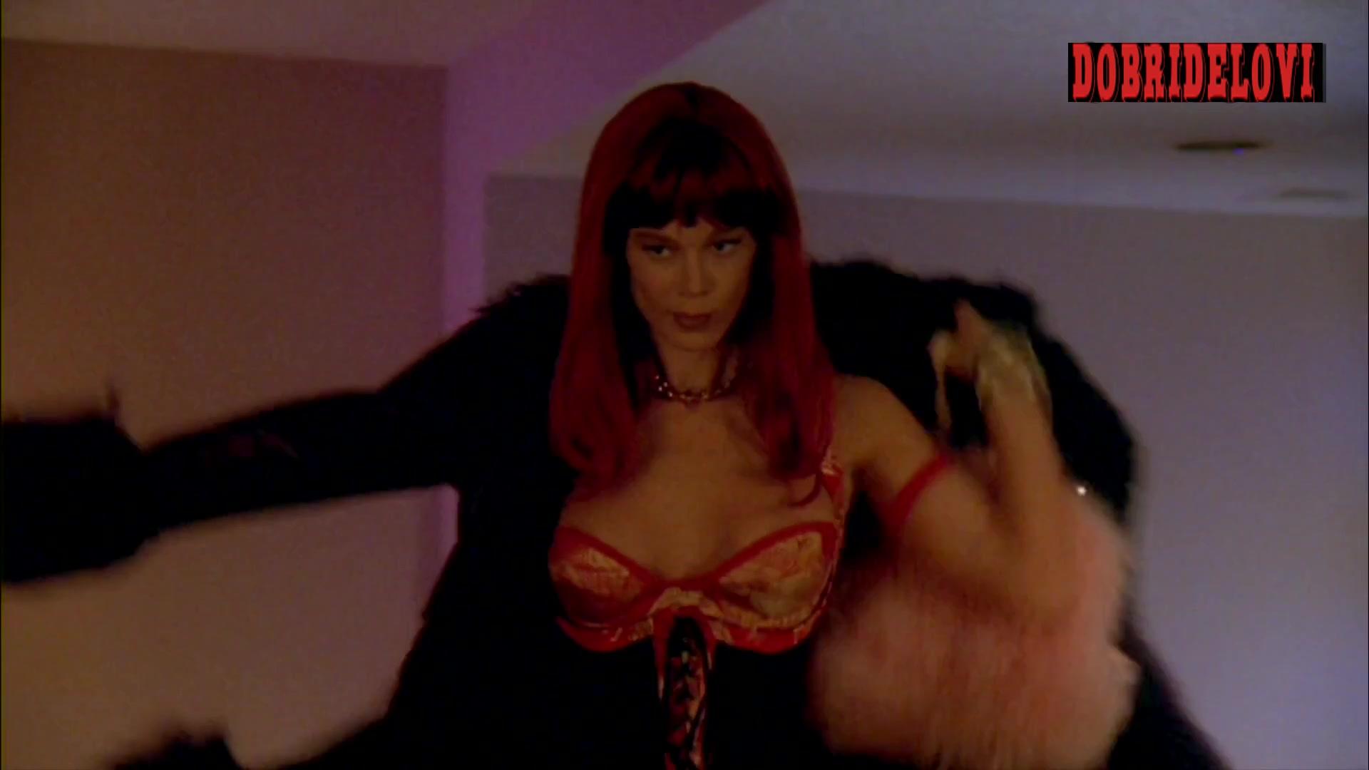 Jennifer Gareis sexy black pantyhose scene from Luckytown