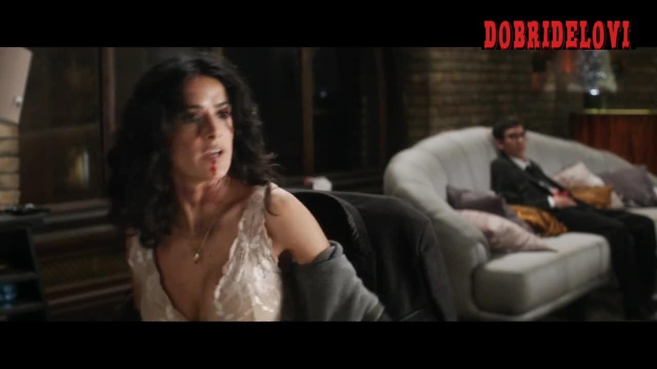 Salma Hayek undressing jacket revealing big rack scene from Everly