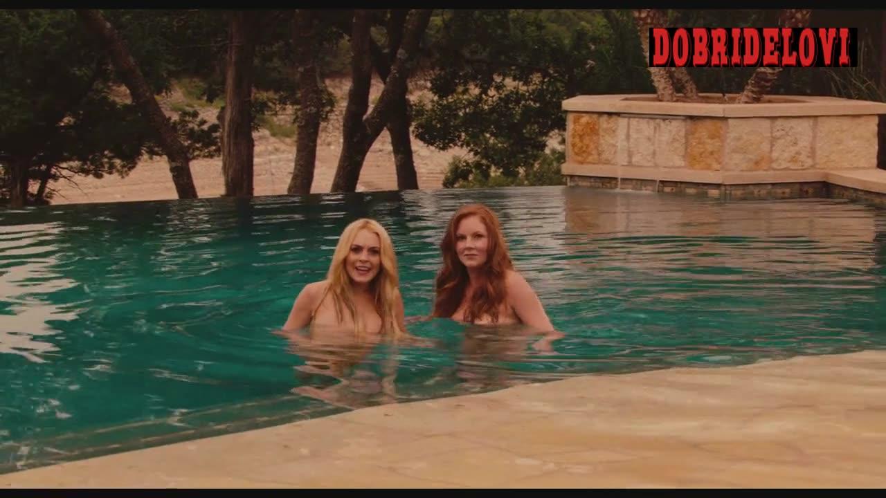 Alicia Rachel Marek and Lindsay Lohan threesome with Danny Trejo scene from Machete